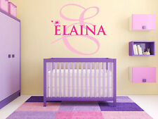 "Baby Elephant Monogram Name Girls Nursery Room Vinyl Wall Decal Graphic 15"" Tall"