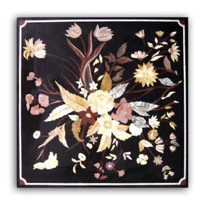 Black Marble Dining Table Top Precious Marquetry Precious Floral Inlay Art B353