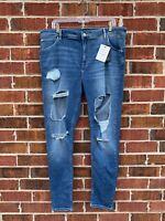Asos High Waist Skinny Jeans Distressed Blue Denim 40 Waist 32 Length Pants