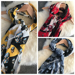 Ladies Women Skull Camouflage Scarf Scarves Shawl Wrap Grey Red Yellow Black UK