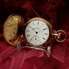Gold Plated Hunting Case 6 Size Antique Vintage 1890 Illinois Pocket Watch
