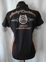 🔻Harley Davidson Size M Button Down Women's Black Biker  Shirt  Short Sleeve