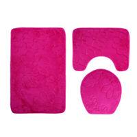 3 Piece Bathroom Mat Set, Padestal Rug, Toilet Lid Cover Bath Rug Absorbent