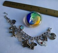 Vtg Monet Silver Bracelet Loaded w/Sterling Charms Collection Grad, Horse, More