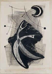 Kunihiro Amano 1958 Modern Abstract Japanese Woodblock Print Signed And Numbered