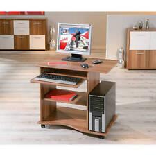 Bureau console meuble informatique table tablette à clavier avec roulette NOYER
