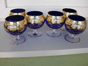 6 COBALT BLUE UNIQUE LUXURY BRANDY GLASS GOBLETS