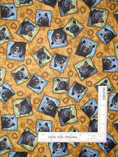 Bear Fabric - Animal Black Bear Paw Toss Quilting Treasures Bear Country - YARD