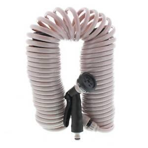 Garden Spiral Hose Coil 15.2m Includes Hand Spray 6 Pattern Nozzle Gun / Pistol