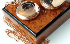 PERSONALISED MONOGRAM 18k Rose Gold Clad Pocket Watch CUSTOM Engraved Initials