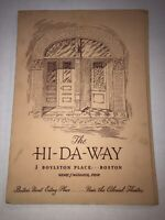 Vintage 1947 The HI-DA-WAY Menu And 2 Post Cards Boylston Place Boston