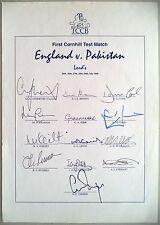 ENGLAND v PAKISTAN 1996 1st TEST MATCH – CRICKET OFFICIAL AUTOGRAPH SHEET