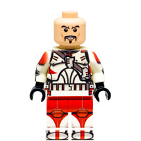 Custom LEGO Star Wars Minifigure Clone Commander Ganch (Without Helmet)
