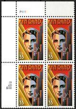 USA Sc. 3308 33c Ayn Rand 1999 MNH plate block