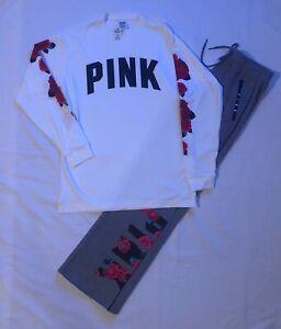 PINK Victorias Secret Rose Campus Tee & Boyfriend Pant sweatpants set X-small