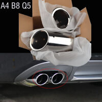 Silver Stainless Steel Exhaust Pipe Tip Tail Rear Muffler Chrome Audi A4 B8 Q5