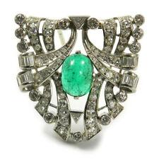 Smaragd & 4.3 ct Diamant Clip Brosche Platin & Weißgold Emerald Diamond Brooch