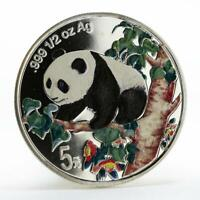 China 5 yuan Panda on the Tree colored silver coin 1998