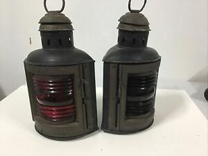 Authentic Perko  Nautical Vintage Marine Red and Green Marker Lamps