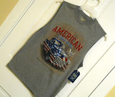 Mens AMERICAN PRIDE Tank Top size Small Gray Free Shipping