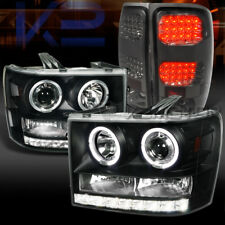 07-14 GMC Sierra Black Dual Halo Projector Headlights+Smoke LED Tail Lamps