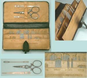 Antique English Leather Needle Book  * John James & Sons * Circa 1900