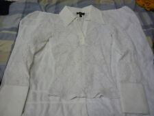 BEBE white lace flower design stretch casual shirt top size XS