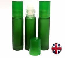 More details for green frosted glass empty roller ball aromatherapy roll-on oil refill bottles