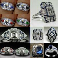 Elegant Silver White Topaz&Blue Sapphire Ring Wedding Bridal Women Jewelry 6-10