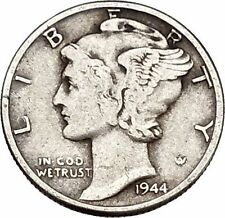 Mercury Winged Liberty Head 1944 Dime United States Silver Coin Fasces i43152