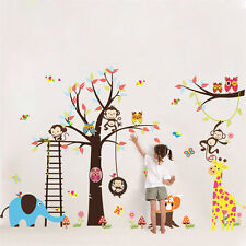Animal Zoo Monkey Jungle Tree Kids Wall Stickers Home Decor Mural Decal Nursery
