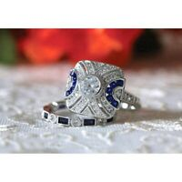 Women 925 Silver White Topaz Wedding Engagement Jewelry Gift Ring Set Happiness