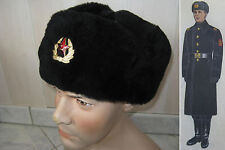 Vraie chapka MARINE NAVAL SOVIETIQUE russe fourrure hiver militaire t.56 URSS