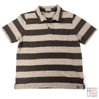 The North Face Mens XL Short Sleeve Cotton Polo Shirt Regular Fit Striped Brown