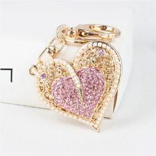 Pink Golden Heart Rhinestone Key chain Crystal Handbag Charm Key Ring Pendant