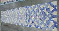 """Ivory / Blue 2' 3"""" x 10' Stained Runner, Reduced Price DDY717A-210"""
