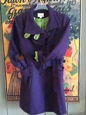 ANTHROPOLOGIE Purple Green Lined Latte Coffeeshop WOOL Coat Jacket Pocket Size M