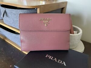 Prada Pink Saffiano Leather Compact Small Bifold Flap Wallet