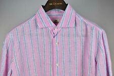 Borrelli Mens Handmade Pink Stripe Slim Dress Shirt Size 17 New $600