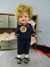 "11"" antique composition Ideal Shirley Temple Doll 11 with Trunk & Clothing TLC"