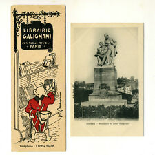 Vintage French Postcard & Bookmark, Bookstore & Statue, Galignani Brothers, 2 pc