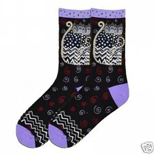 Laurel Burch K.Bell Black Polka Dot Gatos Cats Crew Womens Ladies Socks New