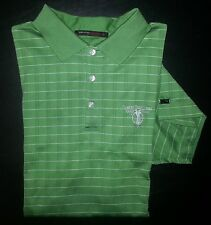 Green White Stripe Textured M TIGER WOODS S/S Dri-Fit Golf Polo! s961