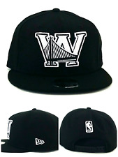 Golden State Warriors New Era 9Fifty Black White Back Half Snapback Hat Cap M/L