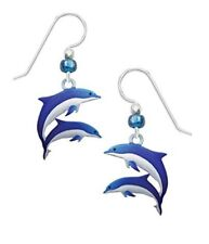Sienna Sky BLUE & WHITE DOLPHIN Earrings Sterling Silver Two Tone Dangle + Box