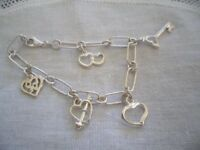 VINTAGE JEWELRY STERLING SILVER CHAIN CHARM BRACELET CHARMS ANTIQUE JEWELLERY