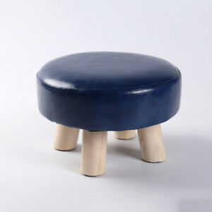 PU Leather Footstools wood Ottoman Living Room Bedroom Round Small Poufs