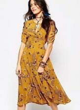 FREE PEOPLE Bonnie Mustard Yellow Butterfly & Floral Print Midi Dress Size 2