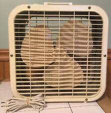 Vintage Lakewood Beige Metal Box Floor Fan 2 Speed 14 x 14 Chicago U.S.A. WORKS