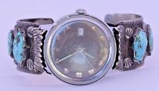 Turquoise Bracelet Watch 6 Stone Sterling Silver Navajo Band Heavy Chunky Ornate